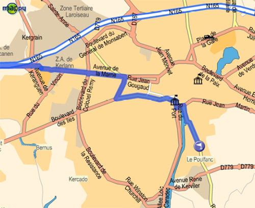 Plan d'accès à partir de Lorient