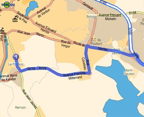 Plan d'accès à partir de Nantes