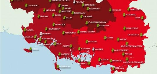 Carte des 65 centres de secours opérationnels